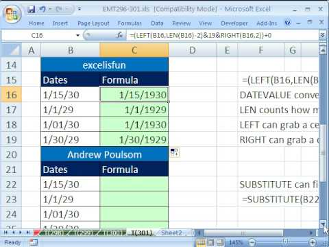 Excel Magic Trick 301: 1900 Date Problems and Fixes