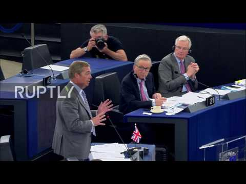 Belgium: Farage lets fly at EU's 'bloody rude' Juncker with Brexit dinner party parable