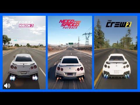 The Crew 2 Vs NFS PayBack Vs Forza Horizon 3 Nissan GTR Sound Comparison