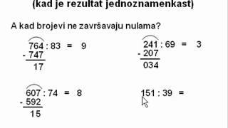 Dijeljenje dvoznamenkastim brojem - 1. dio - kad je rezultat jednoznamenkast