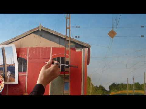 Cómo pintar un cuadro hiperrealista, 4. Apeadero de tren en Viana.