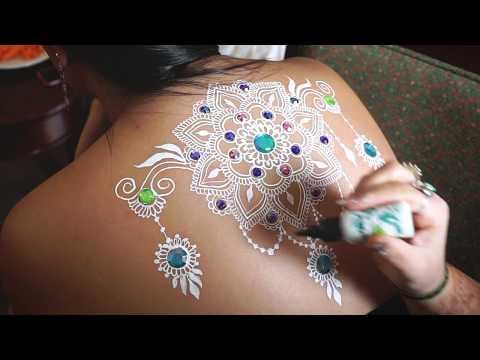 DIY White Henna Mandala with Rhinestones | Time-lapse | Full Back Henna Design