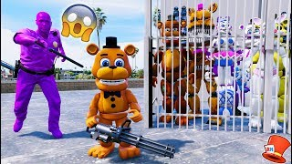 WILL ADVENTURE FREDDY SAVE ALL ANIMATRONICS FROM PURPLE GUY? (GTA 5 Mods For Kids FNAF RedHatter)