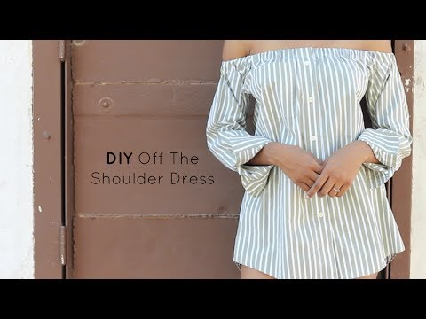 DIY Off The Shoulder Dress | Button Down Shirt Transformation | Jeanae Melisa