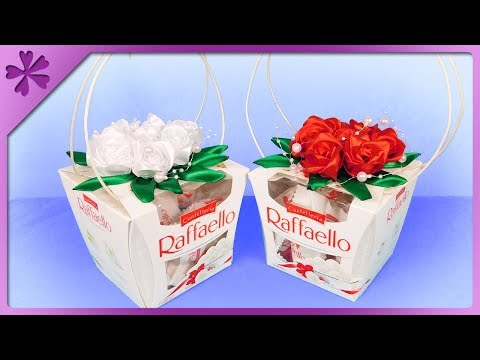 DIY How to make Raffaello basket with flowers, gift for Mother's Day (ENG Subtitles) - Speed up #484