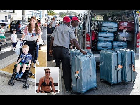 Rooney PICTURE EXCLUSIVE: Coleen and family jet into Barbados alongside a HUGE mountain of luggage -