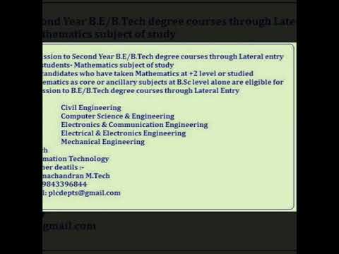 B.Sc  students Mathematics subject of study ,B.E/B.Tech 2nd year  Lateral Entry and Part time