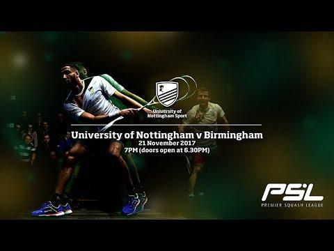 Premier Squash League LIVE: University of Nottingham v University of Birmingham Lions PSL