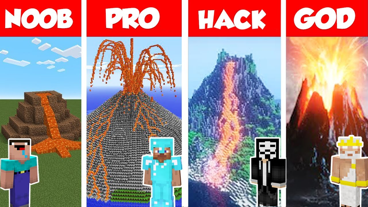 Minecraft NOOB vs PRO vs GOD: VOLCANO HOUSE BUILD CHALLENGE in Minecraft / Animation