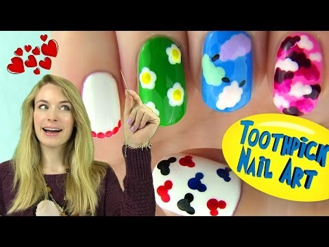 Toothpick Nails! 5 Nail Designs Using Only a Toothpick