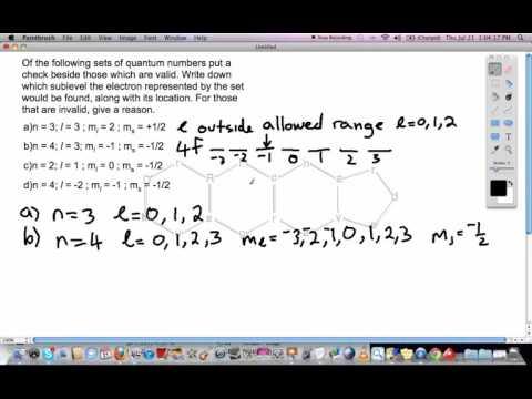 Quantum Numbers  - Valid and Invalid Sets