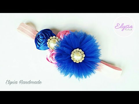 Diy Ribbon Rose - Rose Bud Tutorial | Applying with Tulle Fabric Headband for Baby and Kids
