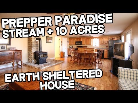 Prepper Paradise Earth Sheltered home on 10 acres with Live water, property with creek for sale