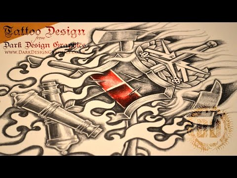 Warrior Coat of Arms Tattoo Design - Speed Drawing