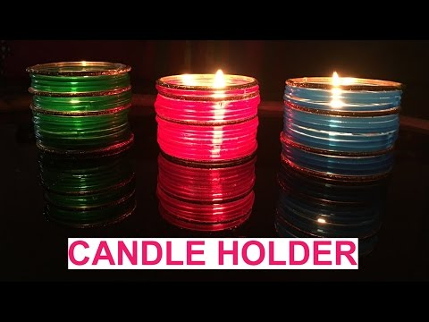 DIY: How to make Candle Holder from Bangles | Diwali Decorations | Christmas Decorations