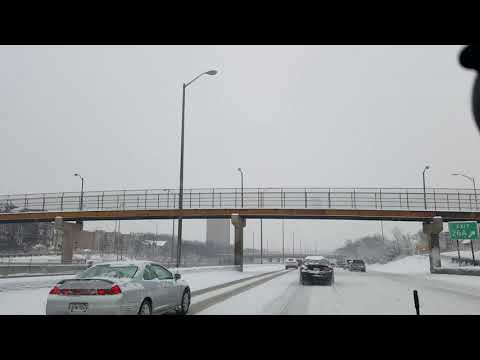 Snowy drive from Oak Park to McCormick Place Chicago Illinois interstate 290 Eisenhower Expressway
