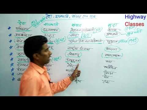 देश राजधानी संसद एवं मुद्रा for UPP and RRB Railways by Gaurav sir