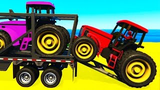 FUN COLOR TRACTOR Transportation - Spiderman Cartoon for Toddlers w Colors for Kids Nursery Rhymes