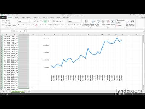 TREND and GROWTH functions | Excel Tips | lynda.com