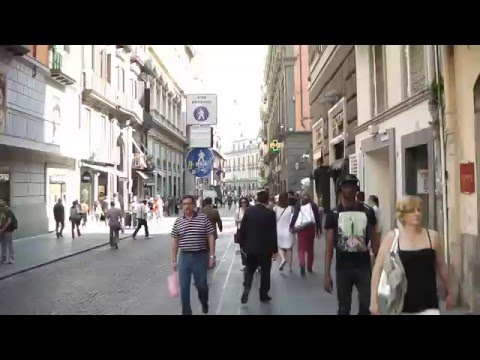 Naples - main street and funicular railway station