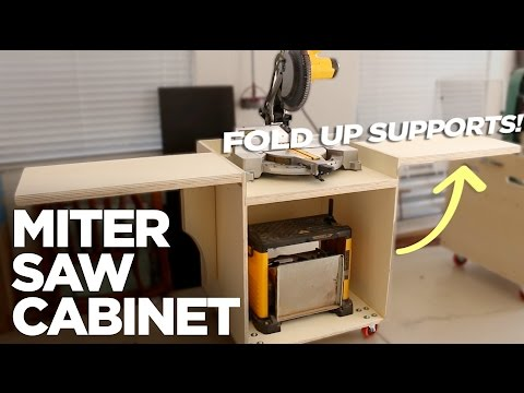Rolling Miter Saw Cabinet w/ Folding Support Wings (Free Plans)