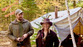 Off Grid Hot Tent Camping With Girl in the Woods and Bushradical - Alone on History Reunion