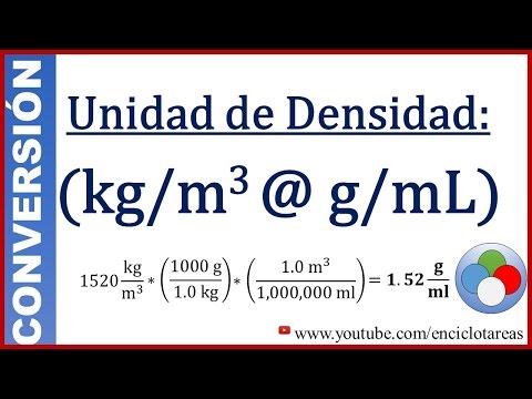 Convertir kg/m3 a g/ml (densidad)