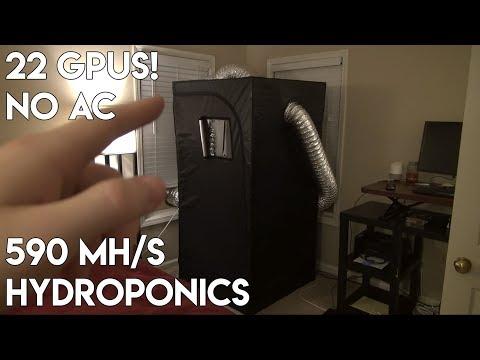 590 Mh/s Ethereum Mining in Hydroponics Tent - 22 GPUs