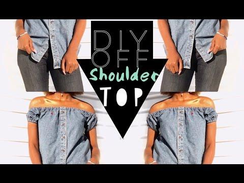 DIY Button Down Shirt into Off-Shoulder top