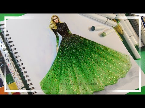 Fashion Illustration Painting for Beginners (Easy version) - Ombre Dress