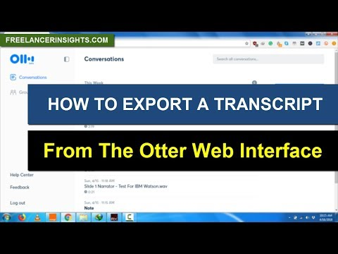 How to Export a Transcript from the Otter Web interface to Word or Notepad