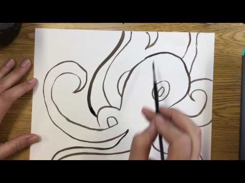 Painting with octopus ink!