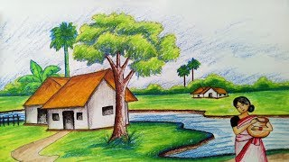 How To Draw Scenery Of Spring Season Step By Step Easy Draw The