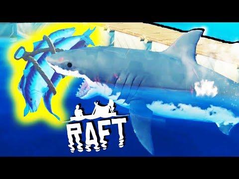 Creating the ULTIMATE SHARK TRAP! - SHARK ATTACKS and Raft Building - Raft Gameplay