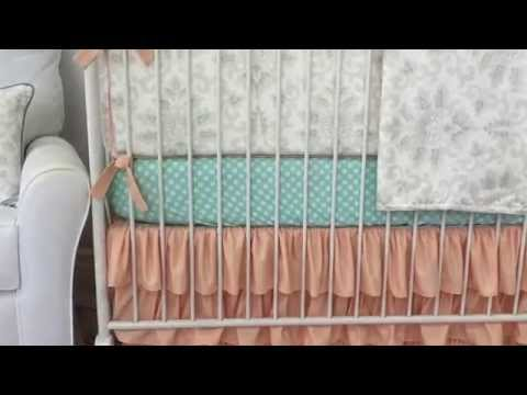 Peach and Aqua Damask Crib Bedding