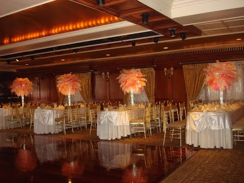 Peach and Coral Ostrich Feather Centerpieces at Westbury Manor
