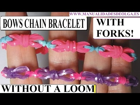 NEW! HOW TO MAKE BOWS CHAIN BRACELET WITH 2 FORKS. WITHOUT RAINBOW LOOM. RUBBER BANDS BRACELET