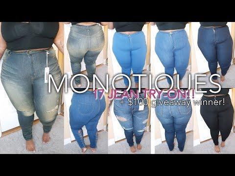 17 Pairs of Jeans! Try-On + $100 Giveaway Winner | ft. Monotiques | Plus Size