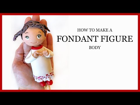 How to Make a Standing Fondant Figure Body - Cute Girl Making Heart Gesture - Valentines Day Topper