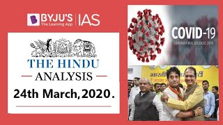 'The Hindu' Analysis for 24th March, 2020. (Current Affairs for UPSC/IAS)