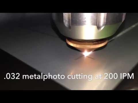 Laser cutting aluminum metalphoto and titanium with our 3kw fiber Ipg laser cube