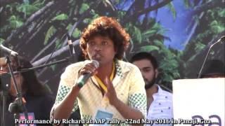 Amazing Konkani song by Richard at AAP rally
