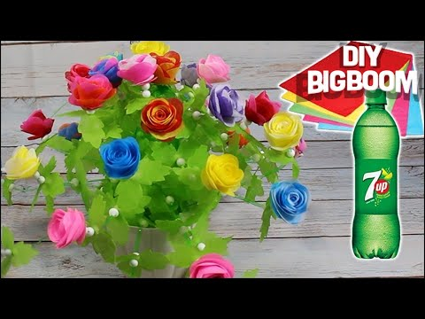 How to make Flower Pot with plastic bottle| Bottle 7up & Tissue Paper | DBB