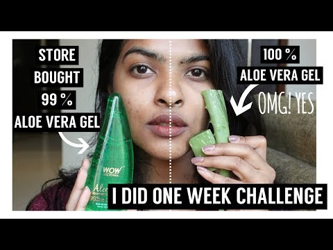 100 % Natural ALOE VERA  VS  Store Bought 99% ALOE VERA || One Week Challenge 😱😨