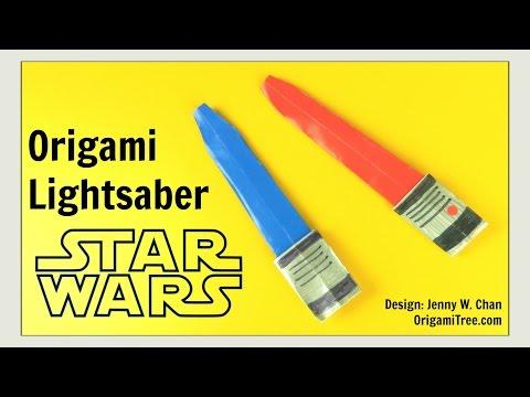 Star Wars Crafts - Origami Lightsaber - Star Wars Origami - DIY Paper Lightsaber