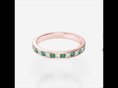 Rose Gold Emerald Diamond Eternity Ring   RGold Emerald Eternity Ring 1135