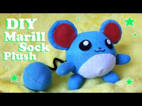 ❤ DIY Marill Sock Plush! How To Make A Cute Pokemon Plushie! ❤