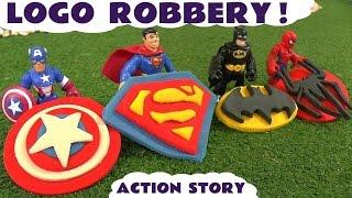 Spiderman Batman Superman and Avengers Captain America Logo Robbery Thomas & Friends Play Doh Story