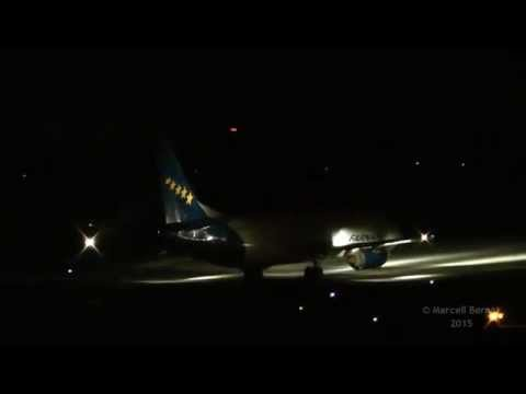 Boeing 737, Boeing 757, Boeing 767 night taxi & takeoff HA FAU, N920FD, N309UP