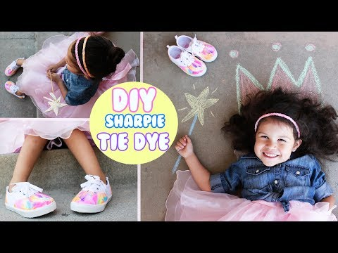 DIY How to Sharpie Tie Dye Kids Shoes AND How to make T-shirt Tie Dye Headbands! EASY! 4K GoPro5